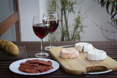 Czech Hermelin cheese. And wine Stock Photos
