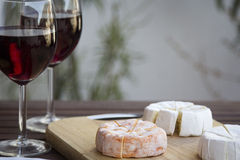 Czech Hermelin cheese and wine. Glasses Stock Photos