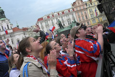 Czech hockey fans Stock Images