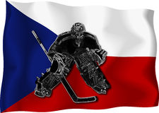 Czech hockey goalie. Hockey goalie on czech national flag background stock illustration