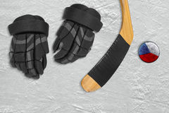 Czech hockey puck and accessories Royalty Free Stock Images