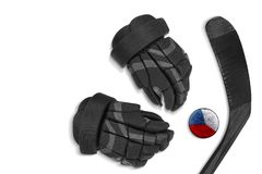Czech puck, gloves and hockey stick Stock Photography