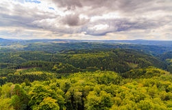 Czech - impressive views of the nearby and far away surroundings from stone bridge Pravcicka brana Royalty Free Stock Images