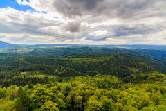 Czech - impressive views of the nearby and far away surroundings from stone bridge Pravcicka brana Royalty Free Stock Photo