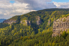 Czech - impressive views of the nearby and far away surroundings from stone bridge Pravcicka brana Stock Image