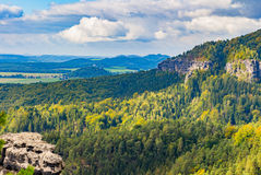 Czech - impressive views of the nearby and far away surroundings from stone bridge Pravcicka brana Stock Photo