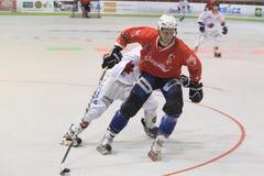 Czech inline hockey playoff. The attacking Pavel Mrna in the semifinal of czech inline hockey league between IHC Slavia Prague and IHC Beroun Royalty Free Stock Photo