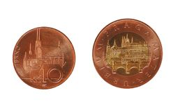 Czech Koruna coins, Czech Republic. Czech Koruna coins CZK, currency of Czech Republic showing Brno 10 and Prague 50 landmarks Royalty Free Stock Images