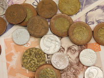 Czech Koruna coins and notes Royalty Free Stock Photos