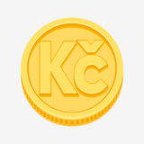 Czech koruna symbol on gold coin. Czech koruna currency symbol on gold coin, money sign vector illustration isolated on white background Royalty Free Stock Photos