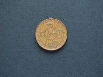 10 Czech Koruna (CZK) coin, currency of Czech Republic (CZ). Special 2000 issue showing clockwork mechanism Royalty Free Stock Photography