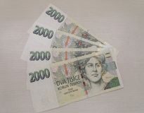 2000 Czech koruna banknotes. 2000 Czech koruna CZK legal tender of the Czech Republic banknotes Stock Images
