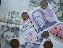 Czech Koruna notes and coins, Czech Republic Stock Photos