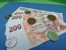 Czech Koruna notes and coins, Czech Republic. Czech Koruna banknotes and coins CZK, currency of Czech Republic Stock Images