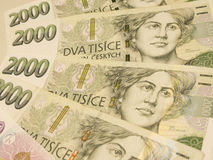 Czech korunas banknotes Stock Photos