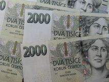 Czech korunas banknotes Royalty Free Stock Photo