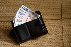 Czech korunas Banknotes in wallet Royalty Free Stock Photos