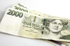 Czech korunas CZK. Banknotes, Czech Republic Royalty Free Stock Photos