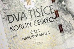 Czech korunas CZK. Banknotes, Czech Republic Royalty Free Stock Image