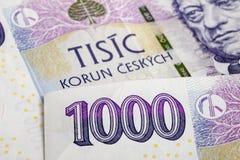 Czech korunas CZK. Banknotes, Czech Republic Stock Image