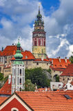 Czech Krumlov city. Summer view of the castle of Czech Krumlov and the surrounding surroundings/Czech Republic royalty free stock images