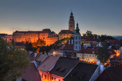 Czech Krumlov. Night view of the historic city of Czech Krumlov Royalty Free Stock Images