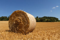 Czech landscape with straw bale Royalty Free Stock Photos
