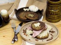 Czech menu. Typical czech food with potato pancake and sauerkraut Royalty Free Stock Photo