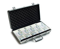 Czech money in aluminium case Royalty Free Stock Images