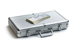 Czech money on aluminium case Stock Photo