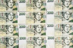 Czech money array in pattern Stock Image