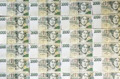 Czech money array in pattern Stock Photos