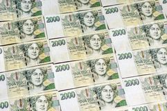 Czech money array in pattern Royalty Free Stock Photography
