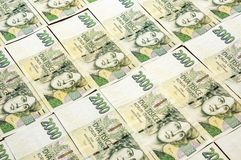 Czech money array in pattern Royalty Free Stock Images