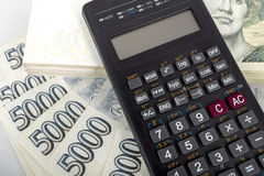 Czech money banknotes and calculator Stock Photo