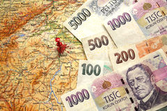 Czech money banknotes on the map of Czech Republic Stock Images