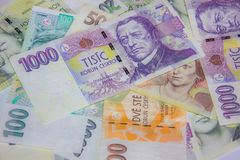 Czech money close-up. On white Stock Photography