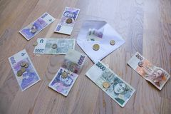 Czech money in envelope Stock Images