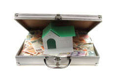 Czech money and house. Isolated on the white background Royalty Free Stock Photo