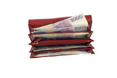 Czech money in red wallet - thousand Stock Image