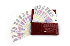 Czech money in red wallet - thousand Stock Photography