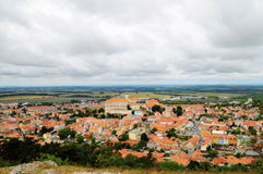 Czech Moravian landscape. With the view on the town of Mikulov and his Castle Stock Images