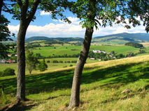Czech mountain. Mountain with the meadows and forests Royalty Free Stock Photos