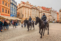 Czech mounted police officers in Prague Stock Photography