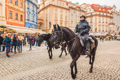 Czech mounted police officers in Prague Stock Photos