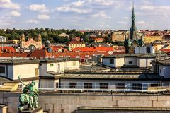 Czech National Bank building statue and the Jindrisska Tower vie stock photos