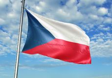 Czech Republic flag waving with sky on background realistic 3d illustration. Czech national flag realistic waving blue sky background 3d illustration vector illustration