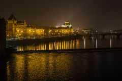 Czech National Theatre from Charles Bridge. Night scenery on dominant of Prague Royalty Free Stock Photos
