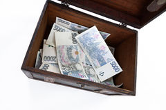 Czech paper money and chest Stock Photography
