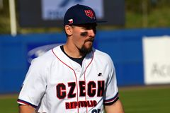 Czech player during the baseballgame in the Super 6 between Spain and Czech Republic. royalty free stock photo
